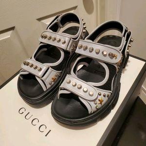 GUCCI Stud Embellished Silver Grey Leather Sandals